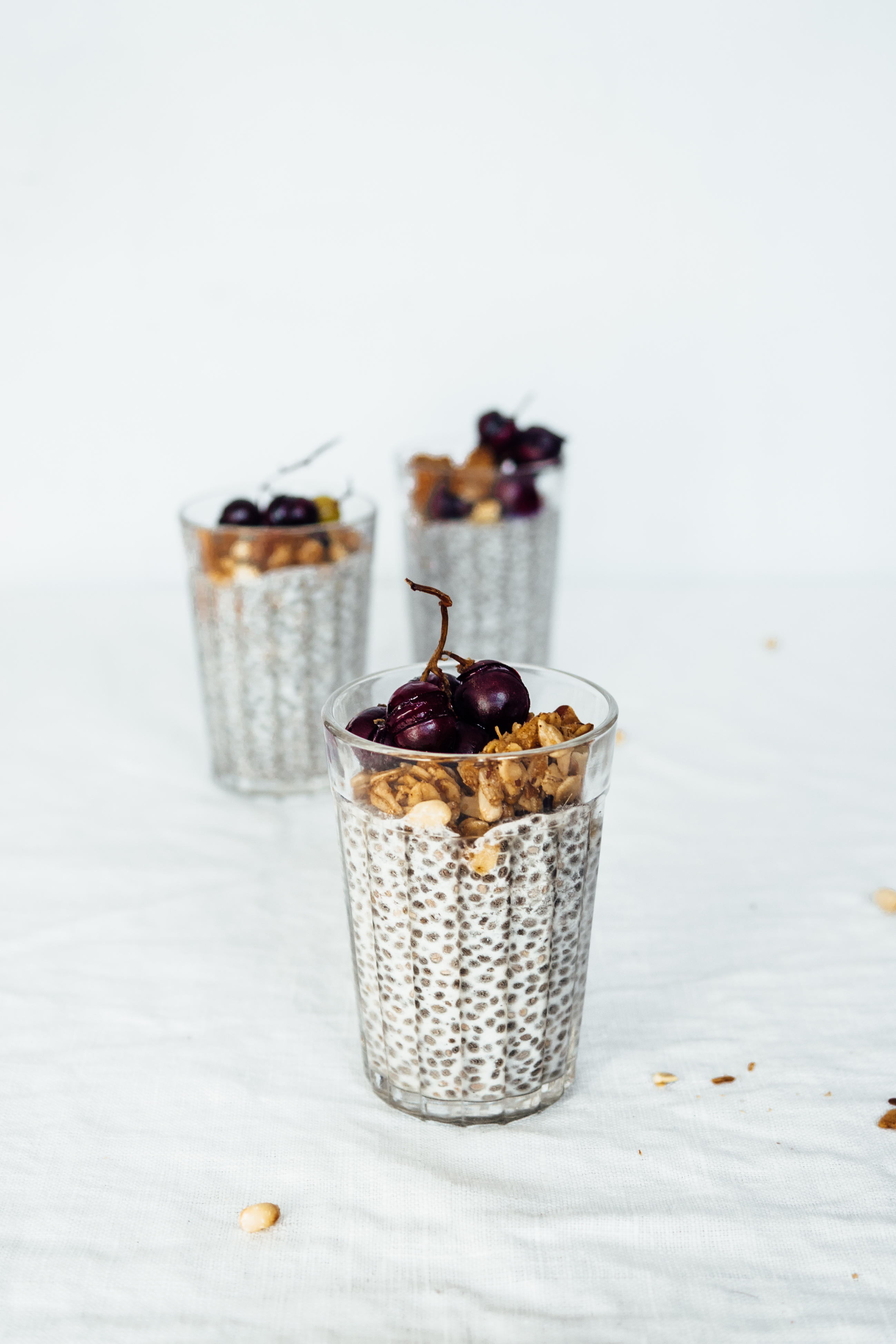 Almond Chia Pudding with Roasted Grapes | TENDING the TABLE